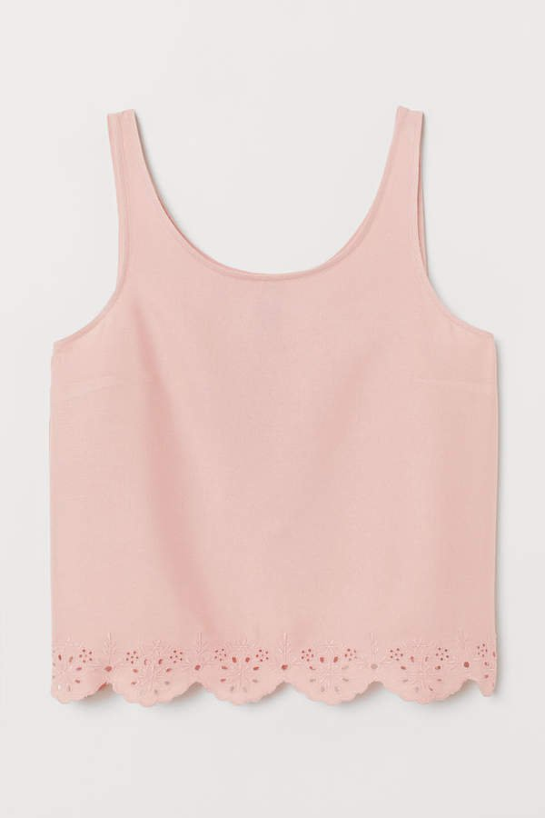 Scallop-hem Tank Top - Pink