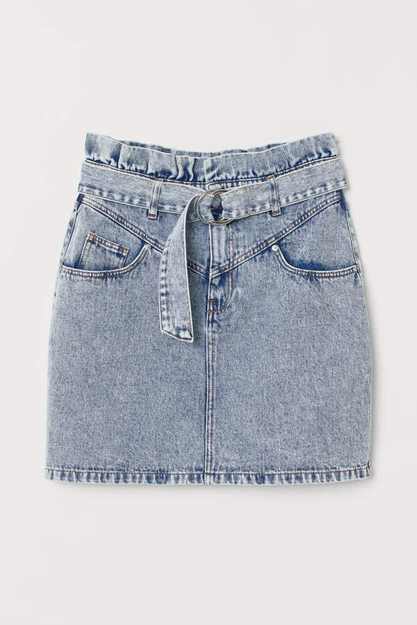 Denim Skirt with Belt - Blue