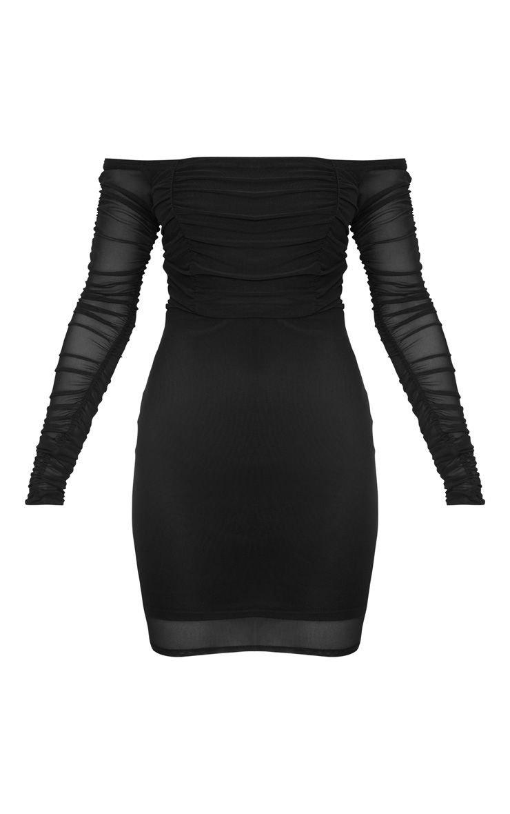 Black Ruched Mesh Bardot Bodycon Dress | PrettyLittleThing USA