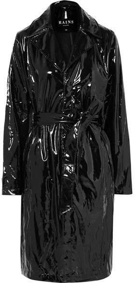 Glossed-pu Trench Coat - Black
