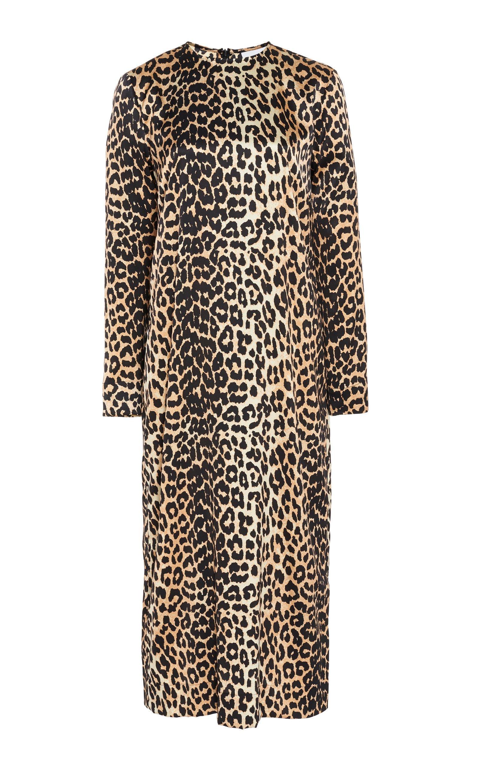 Ganni Leopard Silk Satin Midi Dress
