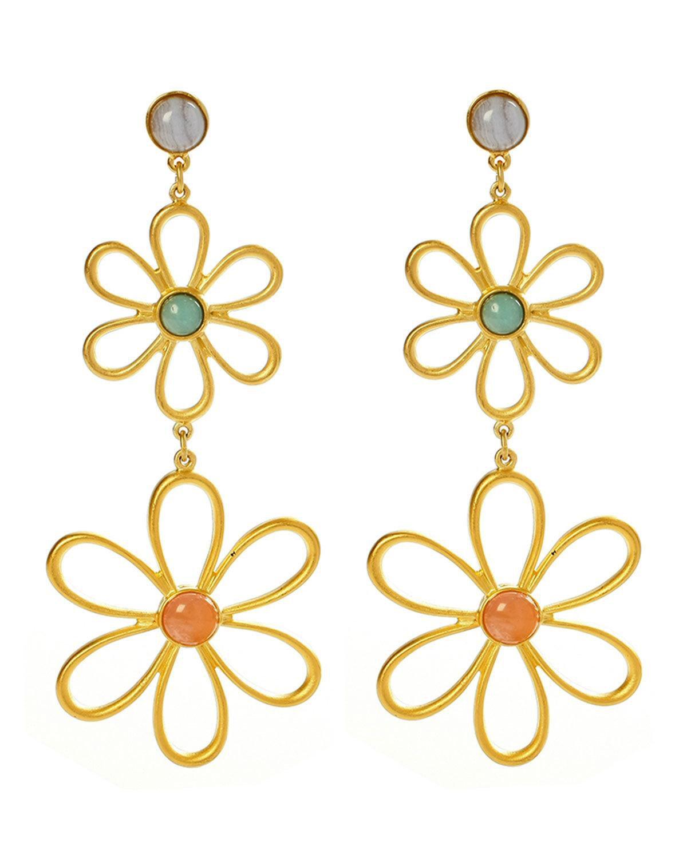 Ben-Amun Hippie Flower & Bead Drop Earrings