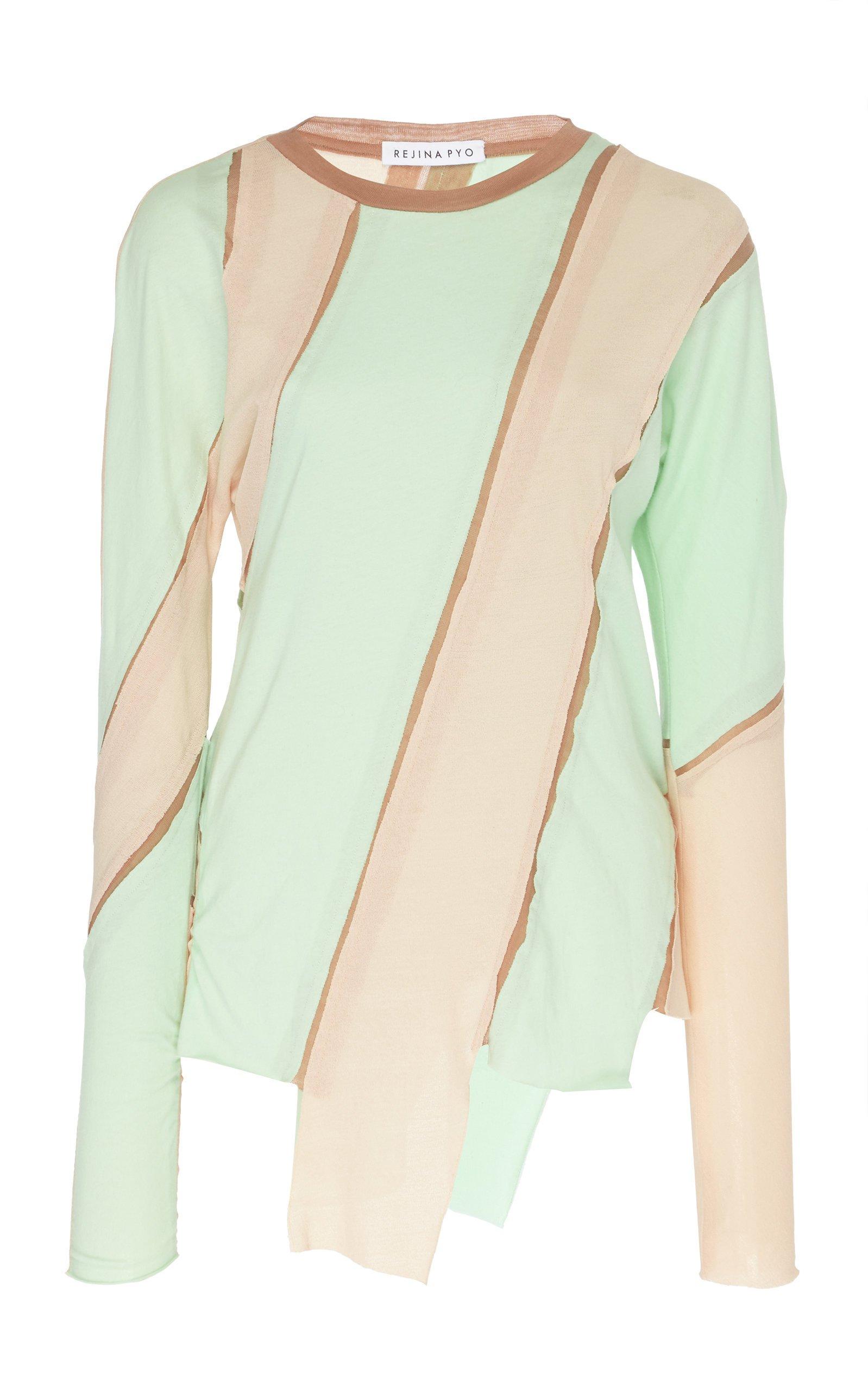 Rejina Pyo Reese Asymmetric Striped Jersey Top