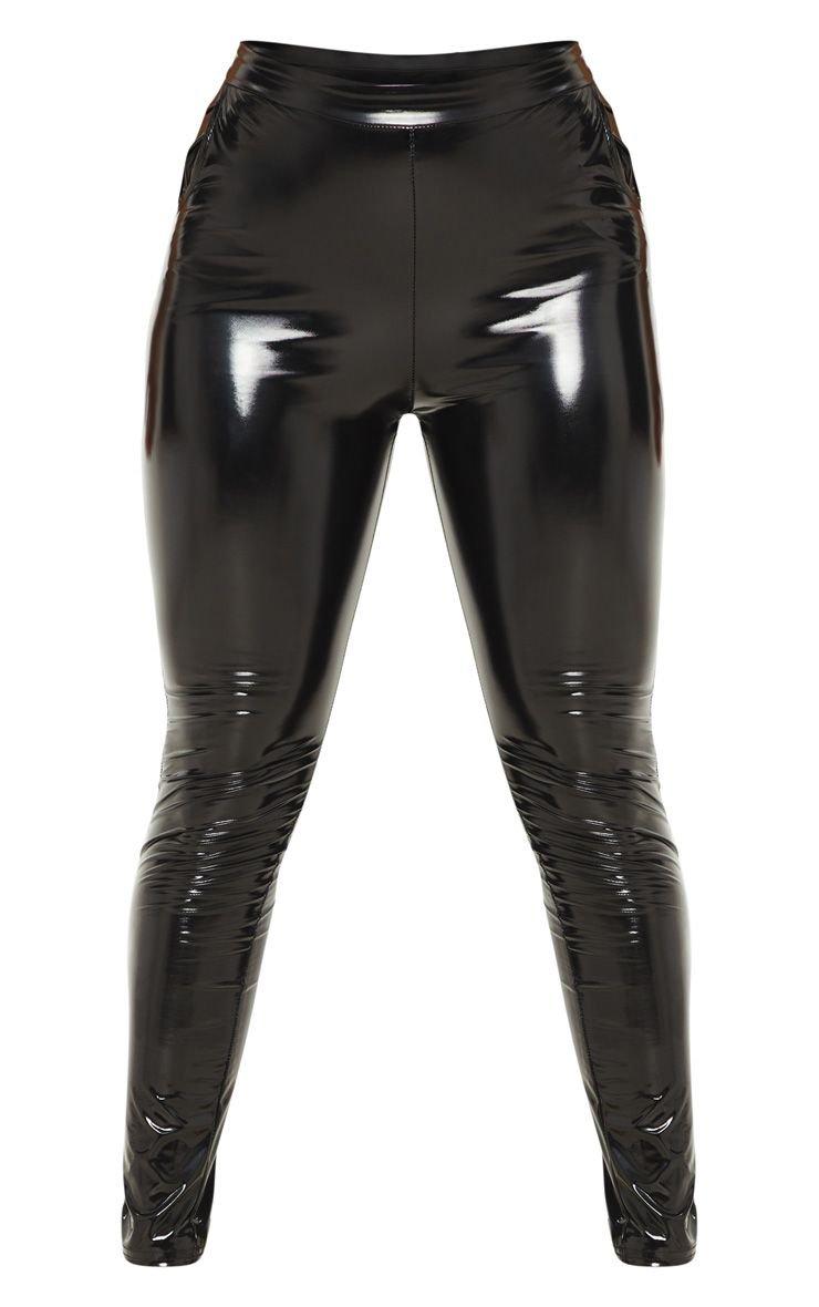 Black Vinyl Leggings  Pants   PrettyLittleThing USA