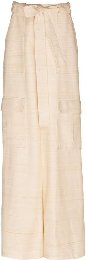 Silk Cargo Wide-Leg Pants