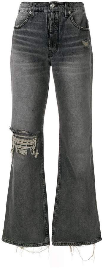 Adaptation ripped wide leg jeans
