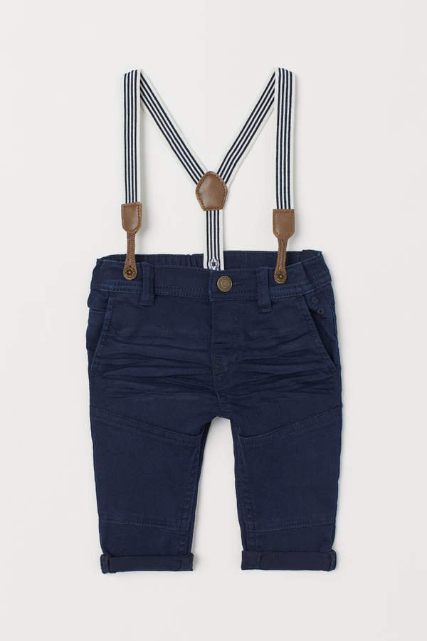 Twill Pants with Suspenders - Blue
