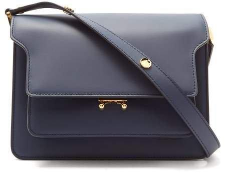 Trunk Medium Leather Shoulder Bag - Womens - Navy