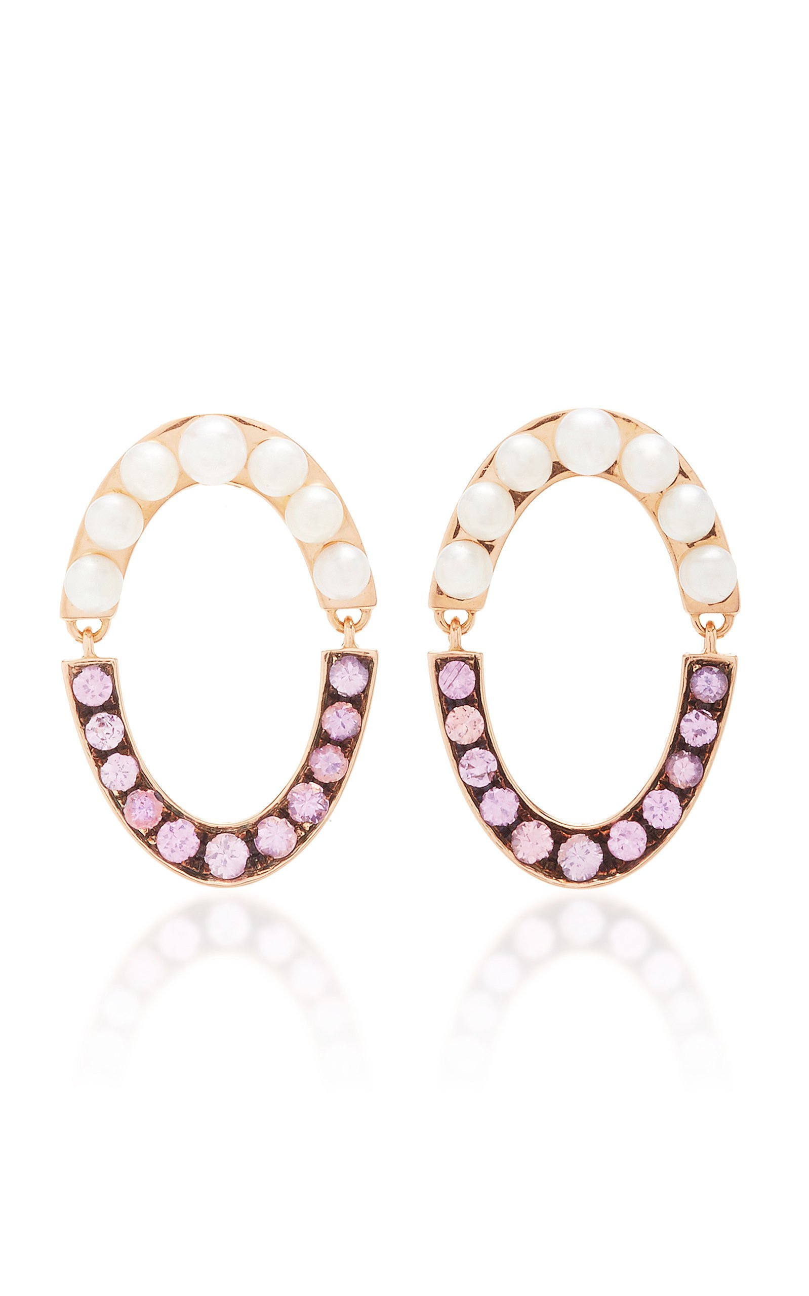 Jemma Wynne 18k rose gold oval drop earrings with pink sapphires and pearls