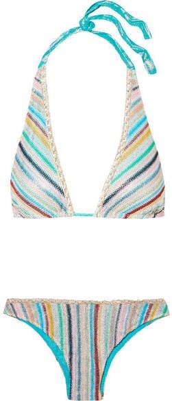 Mare Metallic Crochet-knit Triangle Bikini - Blue