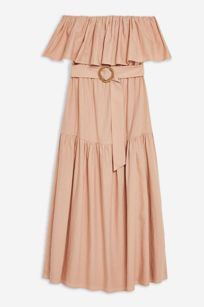 Ruffle Bardot Midi Dress | Topshop pink