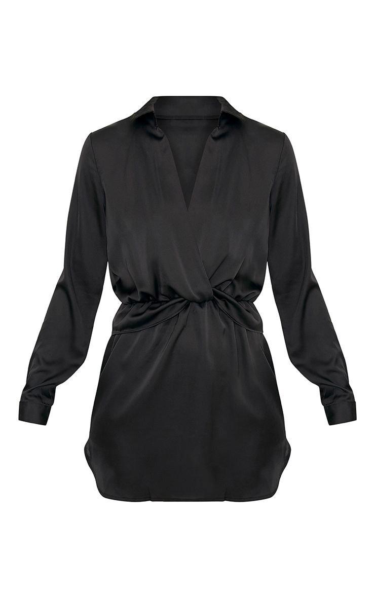 Baby Blue Twist Front Silky Shirt Dress | PrettyLittleThing USA