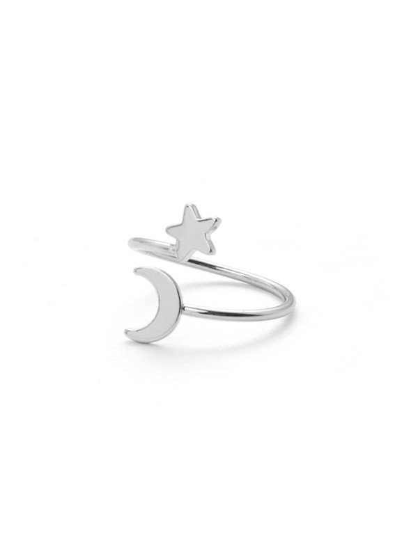Moon & Star Design Ring