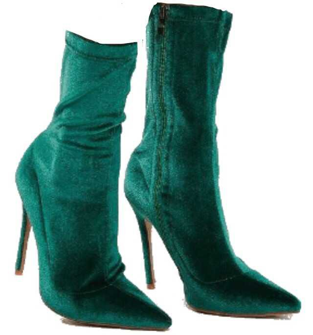 green boots heel heels heeled emerald dark forest velvet suede pointed toe ankle sock shoes