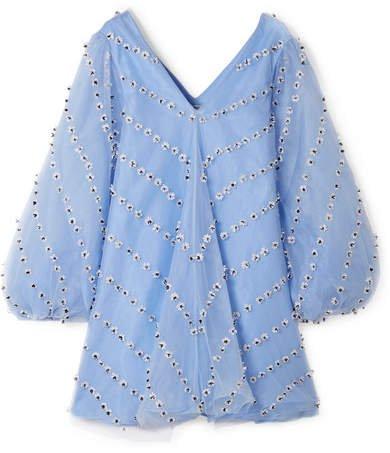 Rosenfeld Embellished Tulle Mini Dress - Sky blue