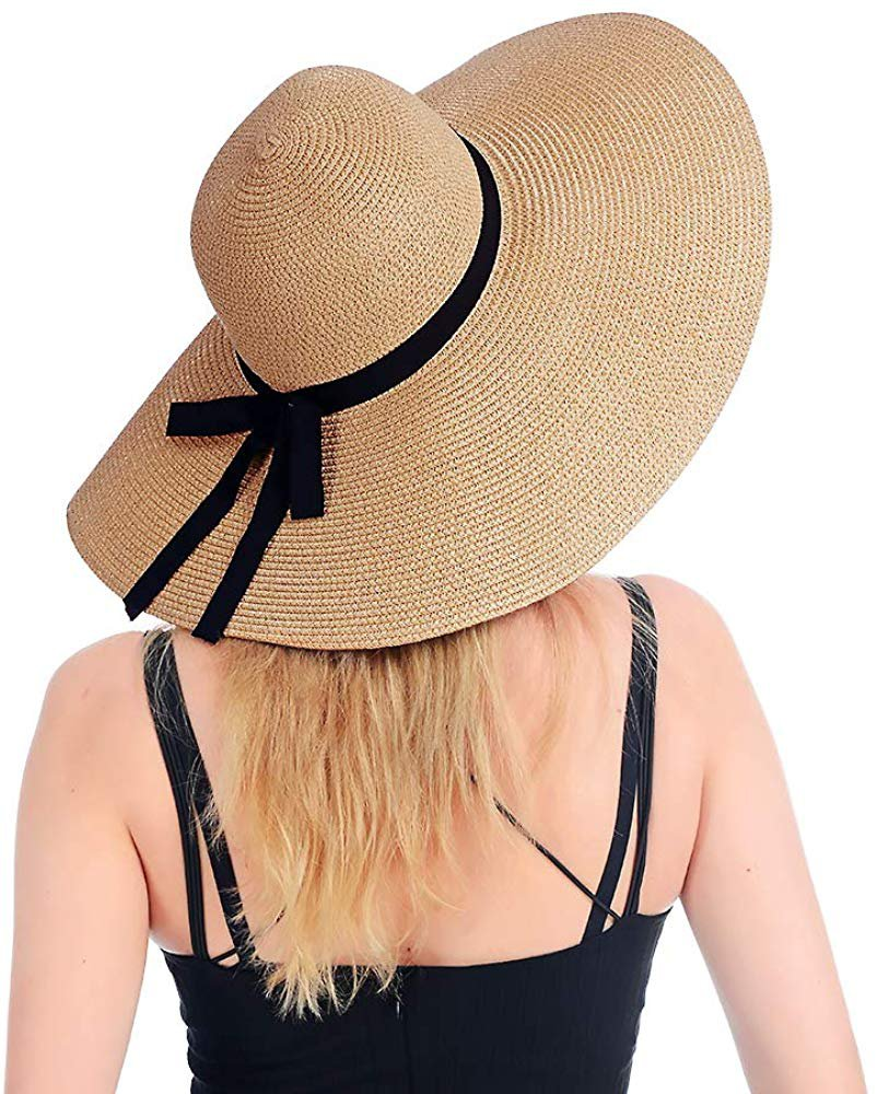 Amazon.com: Womens Beach Straw Hat UPF 50 Wide Brim Sun Blocking Hat Foldable Summer Hat for Travel Floppy Sun Hat Women: Clothing