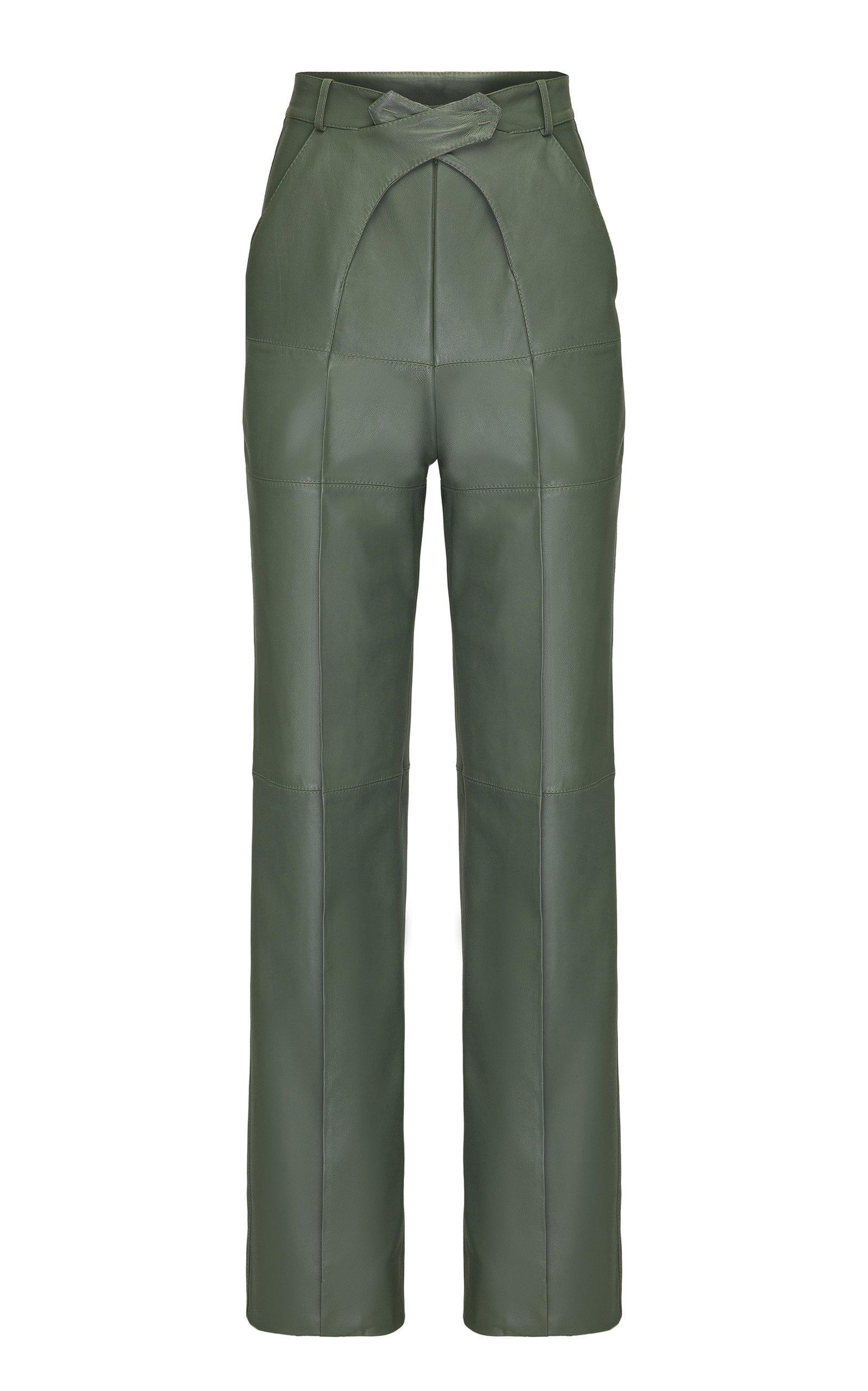 SITUATIONIST Mid-Rise Leather Straight-Leg Pants