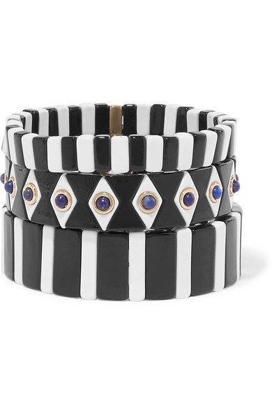 Roxanne Assoulin   Bistro set of three enamel and lapis bracelets   NET-A-PORTER.COM