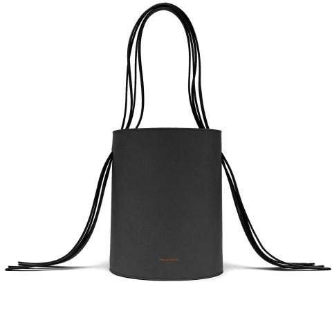 Fringe Red Lined Leather Bucket Bag - Womens - Black
