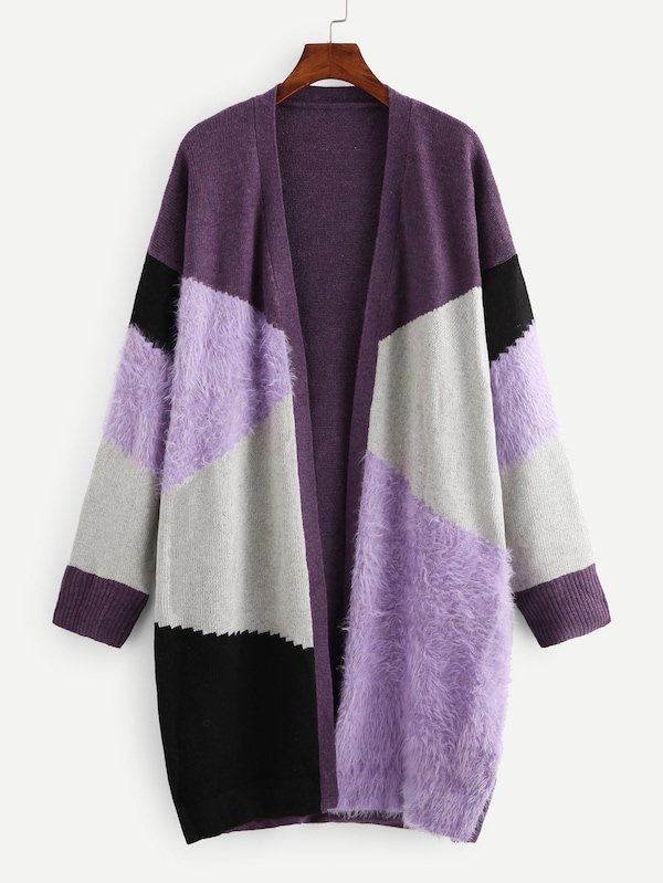 Cut And Sew Mixed Media Longline Cardigan | SHEIN