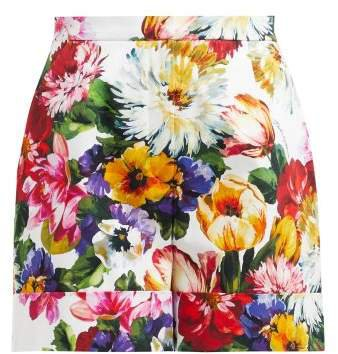 Floral Print High Waisted Cotton Shorts - Womens - White Multi