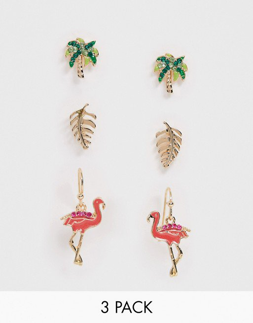 ASOS DESIGN pack of 3 earrings in tropical palm tree and flamingo design in gold tone | ASOS