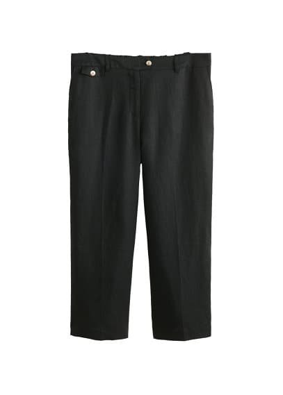 Violeta BY MANGO Straight linen-blend trousers