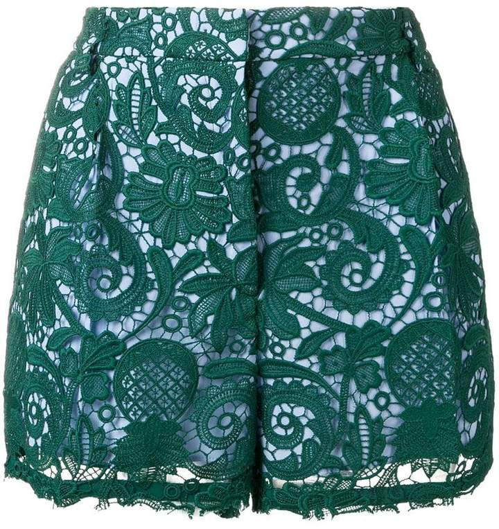 paisley embroidered shorts