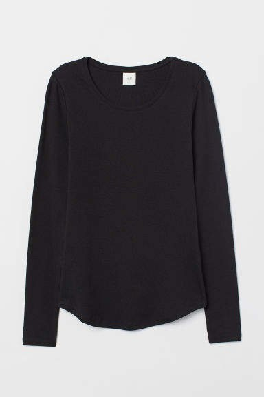 Long-sleeved Jersey Top - Black