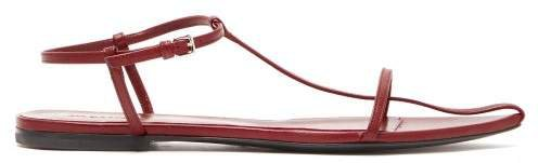 T Strap Point Toe Leather Sandals - Womens - Red