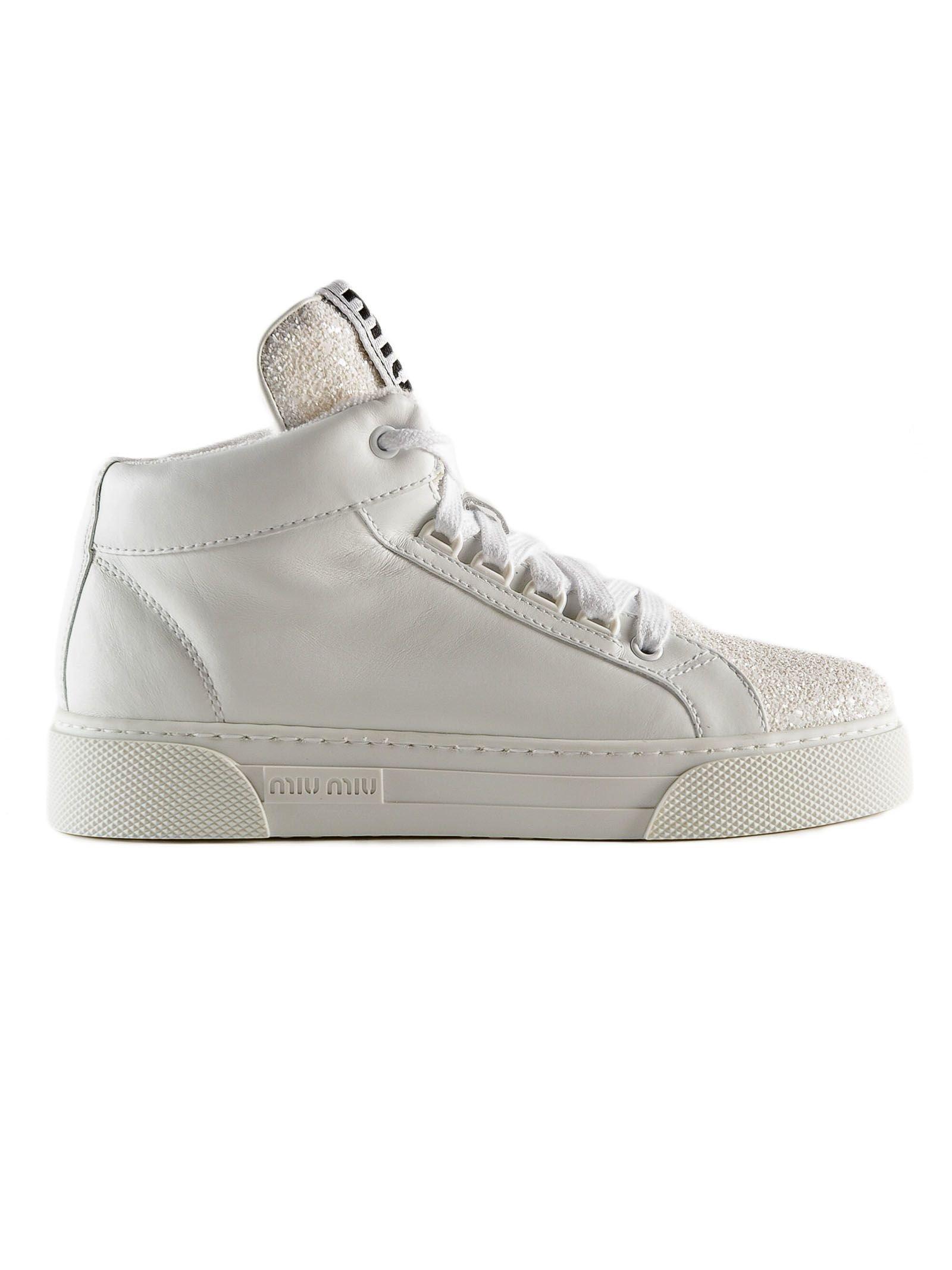 Miu Miu Glitter Detail Hi-top Sneakers