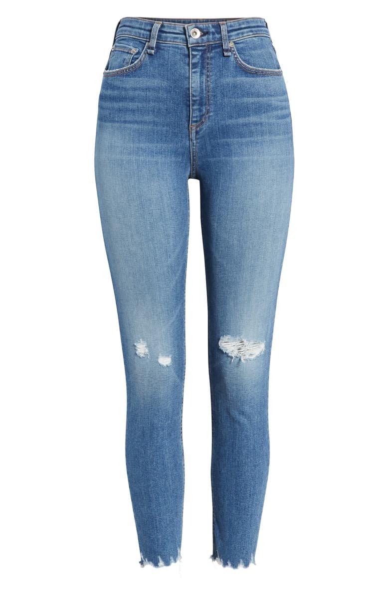 rag & bone Nina Ripped High Waist Ankle Skinny Jeans (Vernon Hole)   Nordstrom