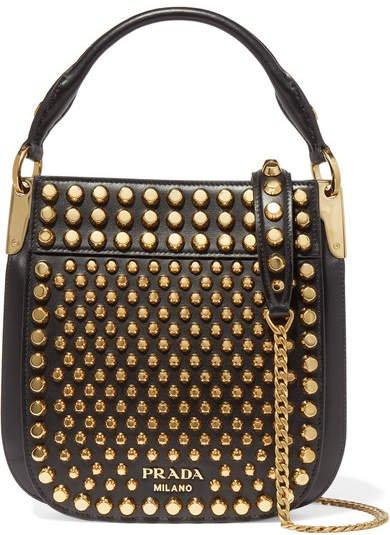 Studded Leather Shoulder Bag - Black