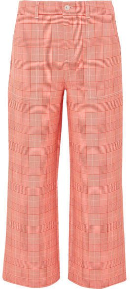 Garvey Checked Cady Wide-leg Pants - Red