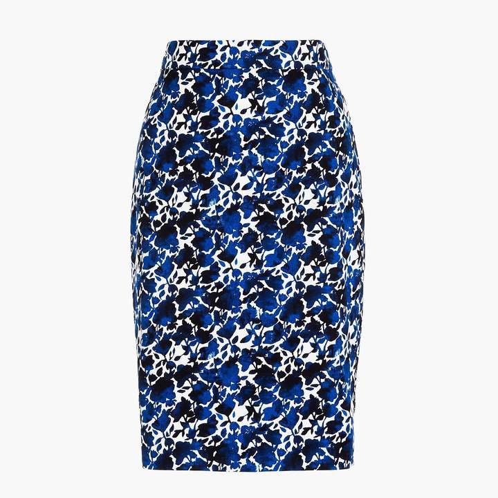 Printed stretch cotton sateen pencil skirt