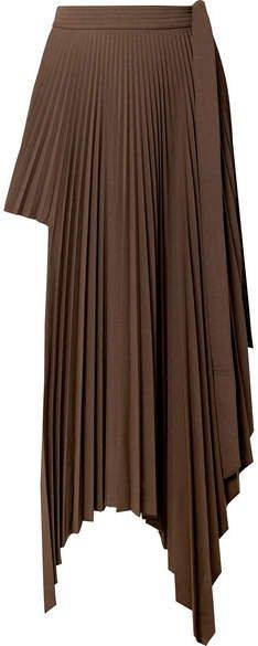 Peter Do - Asymmetric Pleated Voile Wrap Mini Skirt - Chocolate
