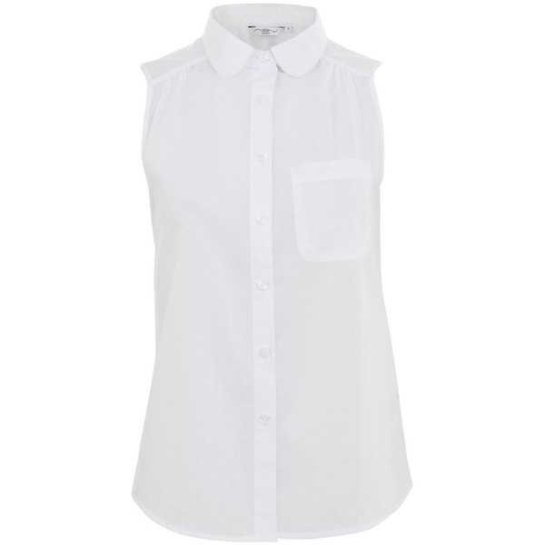 White Peter Pan Collar Sleeveless Shirt