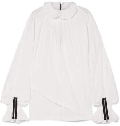 Pleated Cotton-poplin Blouse - White