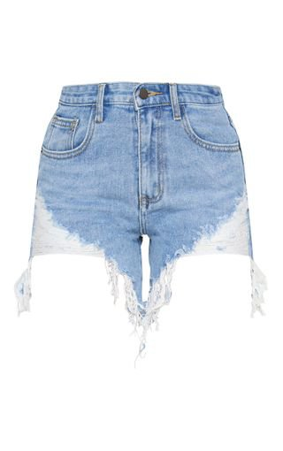 Light Wash Longline Denim Shorts | Denim | PrettyLittleThing