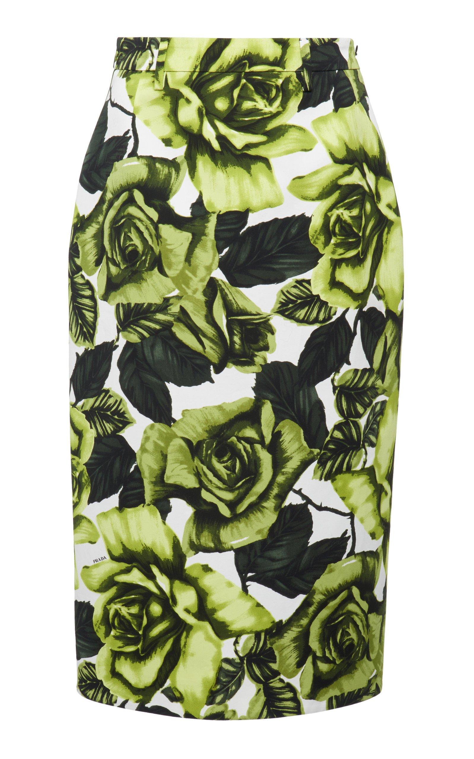 Prada Floral-Print Crepe Skirt Size: 36