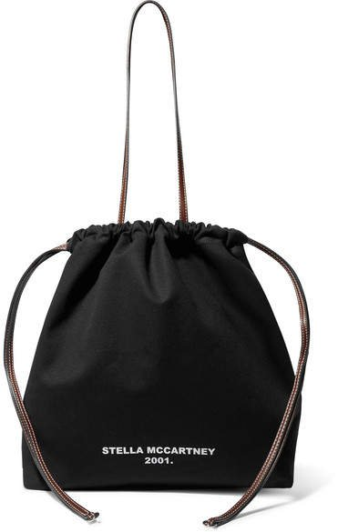 Faux Leather-trimmed Printed Cotton-canvas Tote - Black
