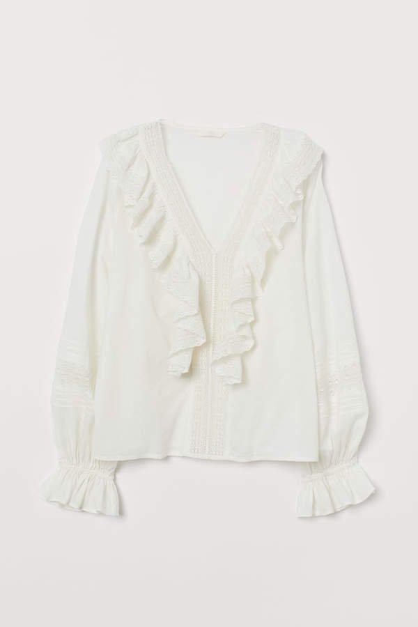 Ruffled Cotton Blouse - White