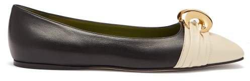 Usagi Half Moon Gg Leather Ballet Flats - Womens - Black Cream