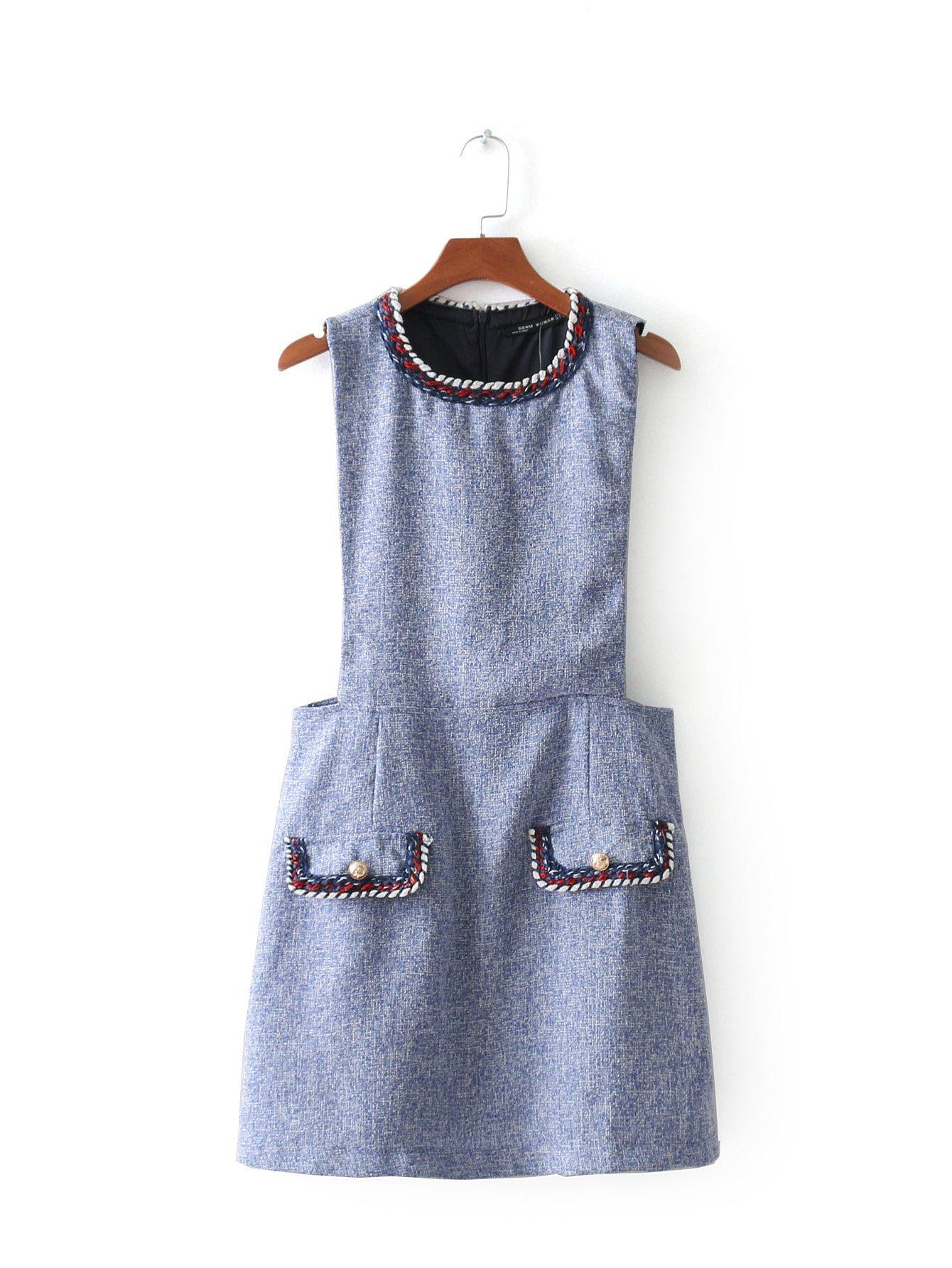 Contrast Trim Tweed Dress