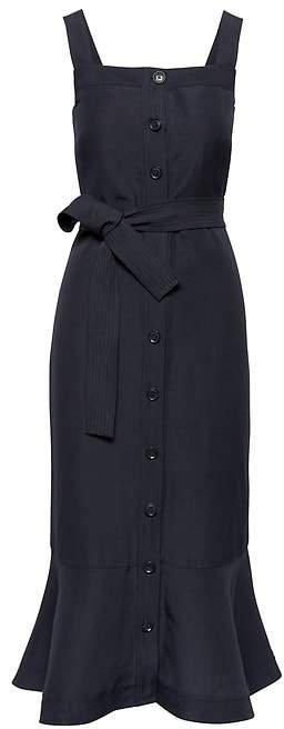Linen-Blend Button-Front Midi Dress