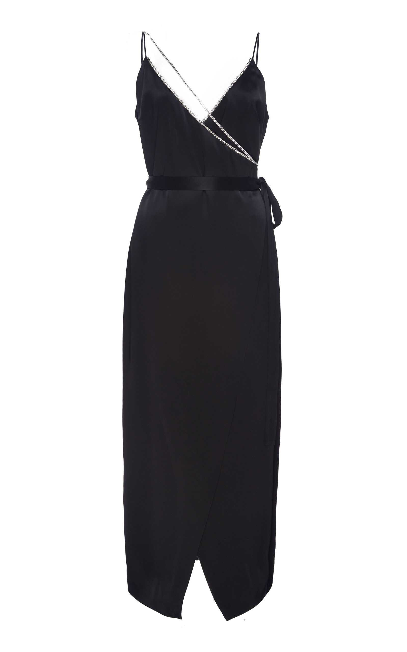 David Koma Crystal Chain Strap Crepe Cocktail Dress