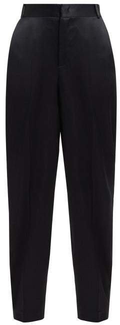 Jack High Rise Satin Trousers - Womens - Black