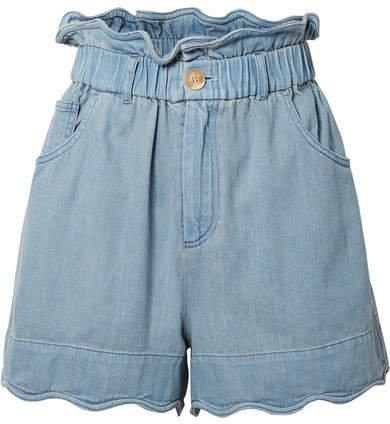 Dakota Scalloped Denim Shorts - Light denim