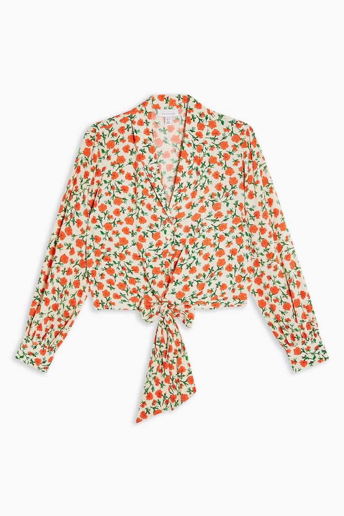 Floral Knot Front Shirt | Topshop