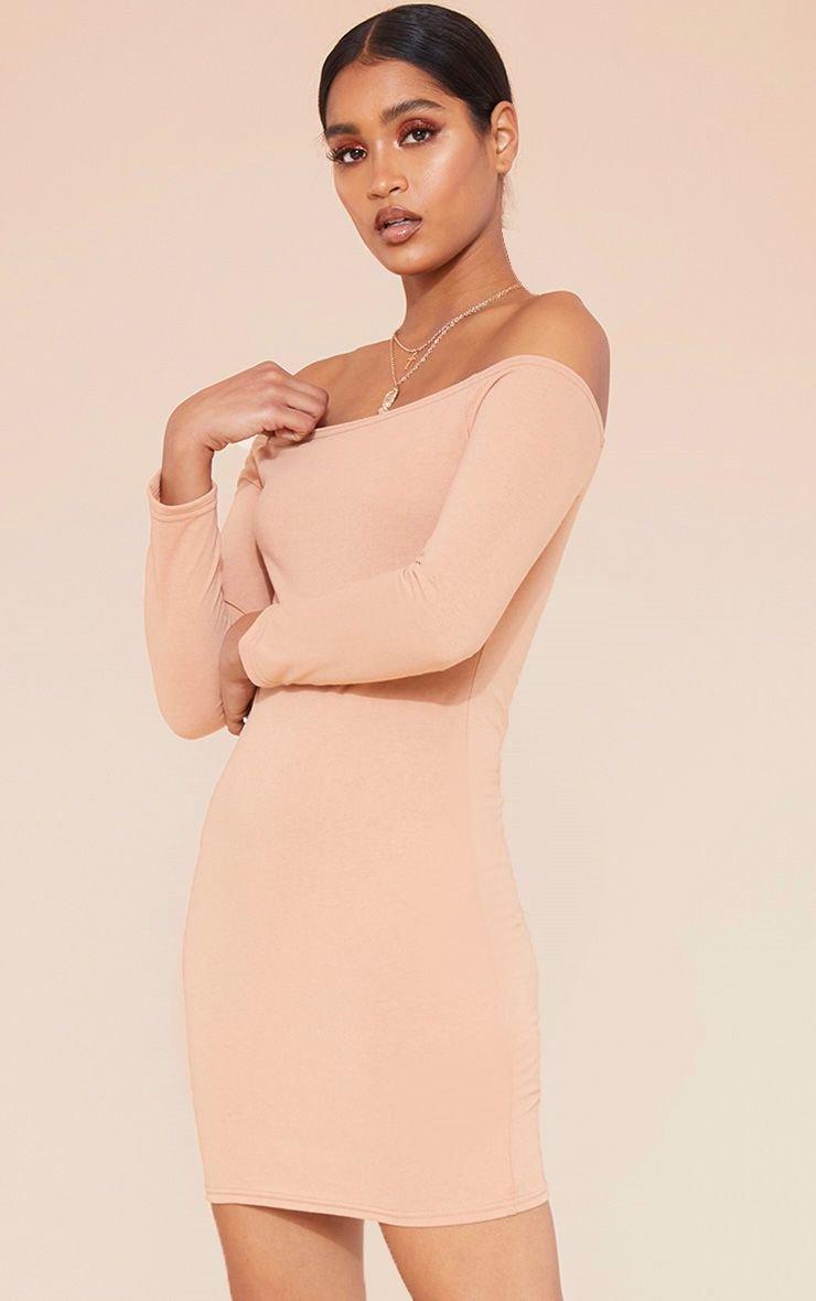 Pale Tan Bardot Bodycon Dress   Dresses   PrettyLittleThing